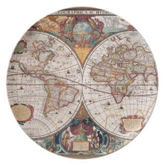 de originele Wereld Map1600s van de 17de Eeuw Diner Bord
