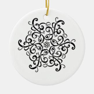 De ornament-Zwarte van de cirkel en Wit Ontwerp Rond Keramisch Ornament
