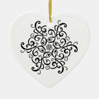 De ornament-Zwarte van het hart en Wit Ontwerp Keramisch Hart Ornament