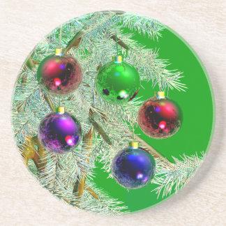 De Ornamenten van de kerstboom glanzen op Groen Zandsteen Onderzetter
