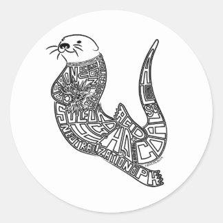 De Otter van het zee & OceaanVerzuring Ronde Sticker