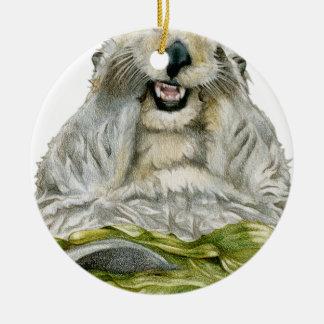 De Otter van het zee Rond Keramisch Ornament