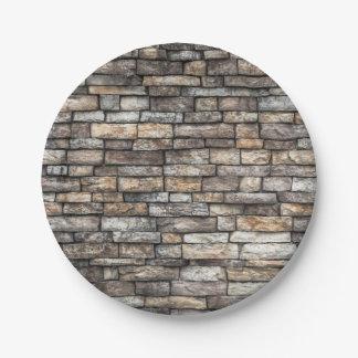 De oude Doorstane Textuur van de Muur van de Steen Papieren Bordjes