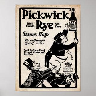 De Oude Druk Liqour van de vintage Rogge Pickwick Poster
