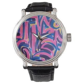 De oude Griekse graffiti-Abstracte Geschilderde Horloge