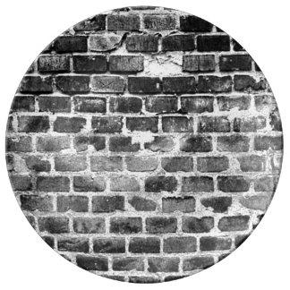 De oude Grijze Doorstane Textuur van de Bakstenen Borden Van Porselein
