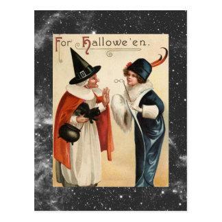 De Oude Heks van vintage Halloween en Modieuze Briefkaart