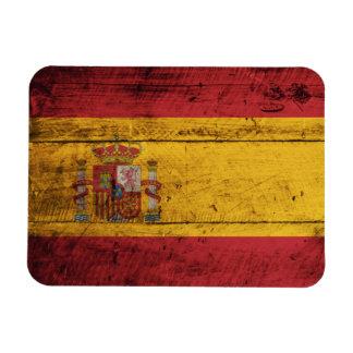 De oude Houten Vlag van Spanje Rechthoek Magneten