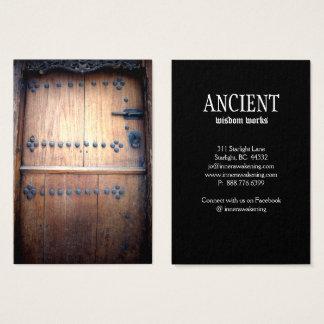 De oude Houten Wijnoogst van de Antiek Deur Visitekaartjes