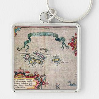 De Oude Kaart van de Azoren - Vintage het Varen Sleutelhanger