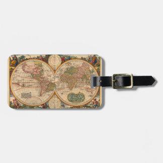 De oude Kaart van de Wereld door Nicolaas Visscher Kofferlabel