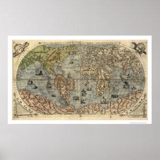 De oude Kaart van Forlani van de Wereld door Paolo Poster