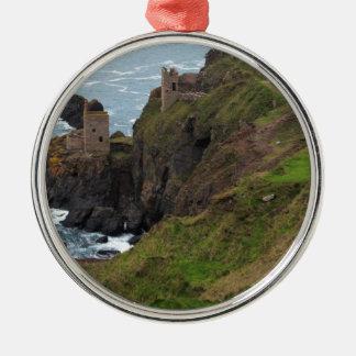 De oude Mijn Botallack van het Tin in Cornwall Zilverkleurig Rond Ornament