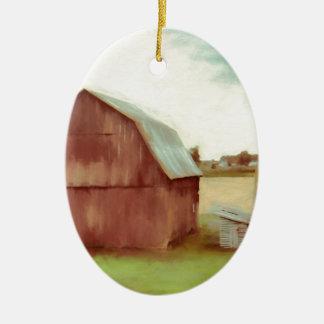 De oude Rode Schuur Keramisch Ovaal Ornament