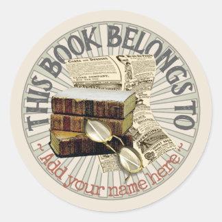 De oude Sticker van Bookplate van Boeken & van de