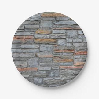 De oude Textuur van de Muur van de Steen Papieren Bordjes