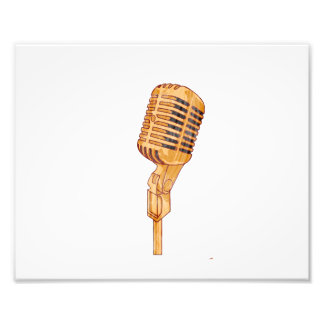 De oude Vintage Gekraste Microfoon verdween Bruin  Fotoprints