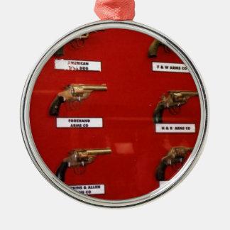 De oude zes-Schutters van het Westen Zilverkleurig Rond Ornament