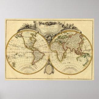 De ouderwetse Kaart van de Wereld (1782) Poster