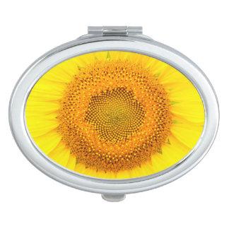 De Ovale Compacte Spiegel van de zonnebloem Makeup Spiegeltje