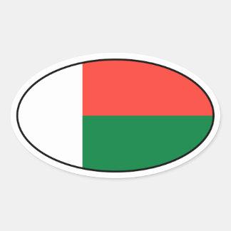 De Ovale Sticker van de Vlag van Madagascar