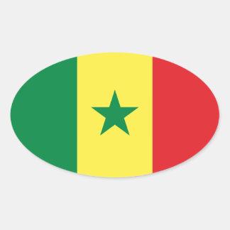 De Ovale Sticker van de Vlag van Senegal