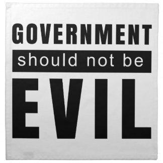 De overheid zou niet moeten kwaad zijn servet