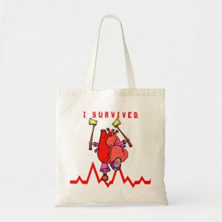 De overlevende Grappige Cartoon van de hartaanval Draagtas
