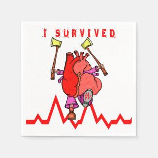 De overlevende Grappige Cartoon van de hartaanval Papieren Servet