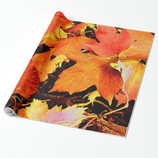 De overweldigende Gewaagde Oranje Bladeren van de Inpakpapier