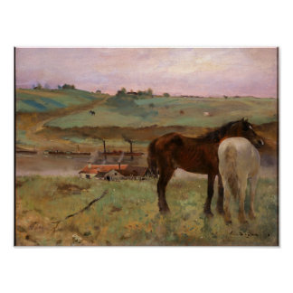 De paarden in een Weide ontgassen de Fijne Druk Poster