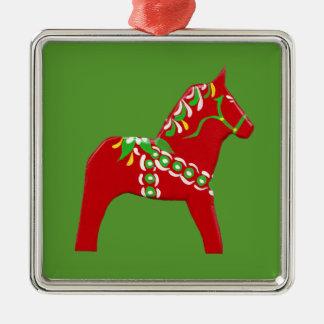 De Paarden van Dala van Kerstmis Zilverkleurig Vierkant Ornament