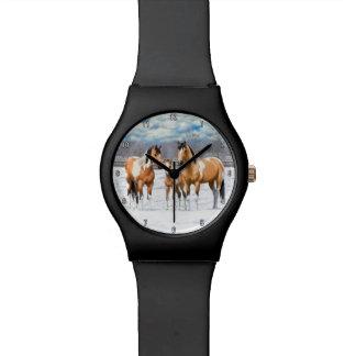 De Paarden van de Verf van het daim in Sneeuw Polshorloge