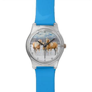 De Paarden van de Verf van Palomino in Sneeuw Polshorloge