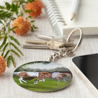 De Paarden van de Verf van Tobiano van het daim Sleutelhanger