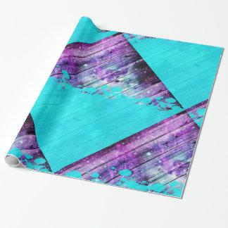 De paarse, Blauwe, en Blauwgroen Houten Planken & Inpakpapier