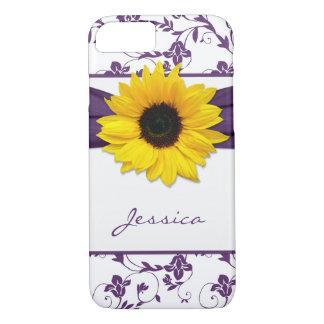 De paarse Bloemen Gele Zonnebloem van het Damast iPhone 8/7 Hoesje