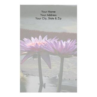 De paarse Bloemen van Lotus Waterlily Briefpapier