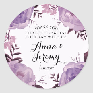 De paarse BloemenSticker van het Huwelijk van de Ronde Sticker