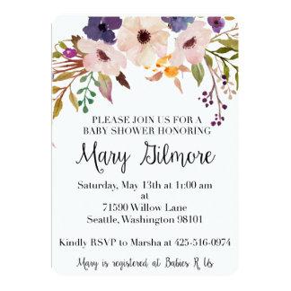 De paarse BloemenUitnodiging van het Baby shower Kaart
