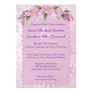 De paarse BloemenUitnodigingen van het Huwelijk 12,7x17,8 Uitnodiging Kaart