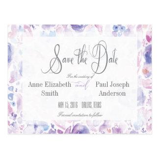 De paarse BloemenWaterverf bewaart de Datum Briefkaart