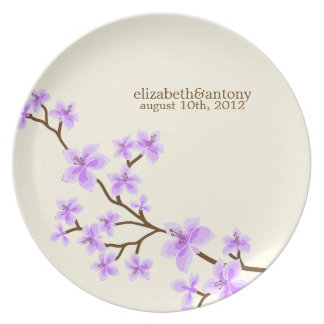 De paarse Bloesems van de Kers Melamine+bord