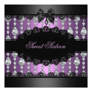 De paarse Diamant & het Kant Sweet16 nodigen uit 13,3x13,3 Vierkante Uitnodiging Kaart