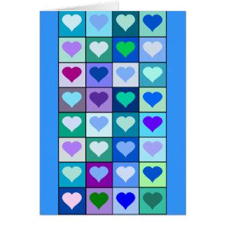De paarse en Blauwe Vierkanten van het Hart Kaart