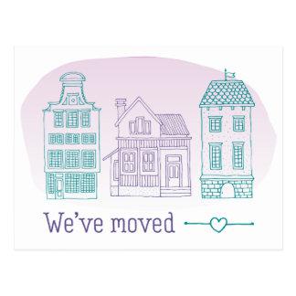 De paarse en Blauwgroen Adreswijziging van Huizen Briefkaart