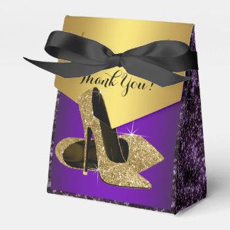 De paarse en Gouden Hoge Verjaardag van de Schoen Bedankdoosjes