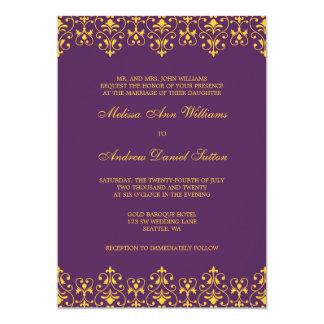 De paarse en Gouden Vintage Barokke Uitnodiging
