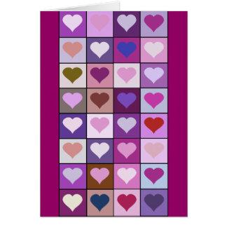 De paarse en Roze Vierkanten van het Hart Briefkaarten 0