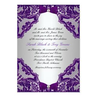 De paarse en Uitnodiging van de Zilveren bruiloft